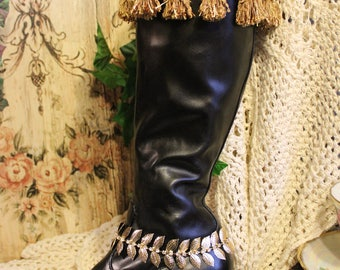 Women's Queenly Gold Fringed Dress Boots - Size 6 1/2