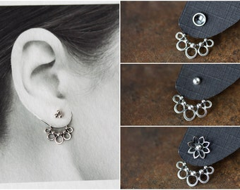 Handmade Silver Ear Jacket, sterling silver, unique interchangeable mix and match stud earrings, unusual circle design, artisan jewelry
