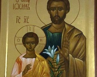Saint Josef with Jesus - handpainted orthodox icon - MADE TO ORDER
