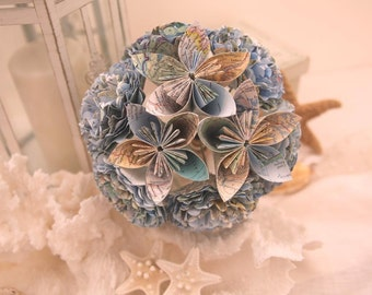 Map Paper Flower Bouquet, Travel Theme Wedding Bouquet, Destination Wedding Bouquet-HANDMADE