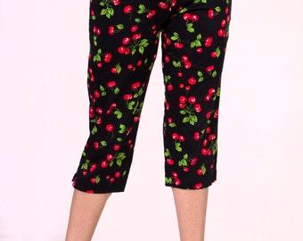 In STOCK Black Cherry Capri Pants size XS-XL