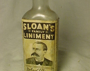 c1930s Sloan's Family Liniment New York ,St. Louis , With paper label ,Labeled Medicine Bottle, Drug Store Decor No.3