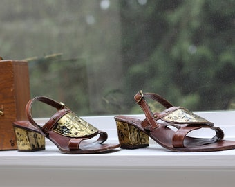 Vintage 1970s Lujano hand made in Italy genuine leather roman sandals metal romantic mid heel sandals Boho shoes vintage 1970s shoes bronze