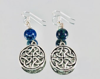 Azurite and Malachite Celtic Knot Earrings