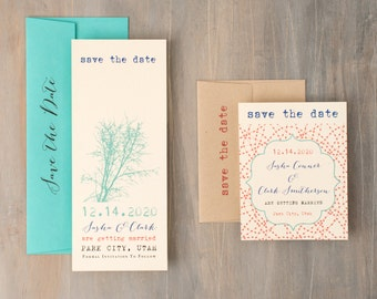 "Rustic Save the Date, Twig, Woodsy Wedding Save the Dates, Mint, Aqua, Coral, Taupe Unique Save the Date Cards - ""Ivory Twig"" Save the Dates"