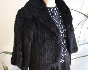 100% Rabbit Fur Stole in Black, size T2