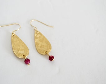 Gold Plated Matte Drop Earrings - Faceted Ruby Dangle