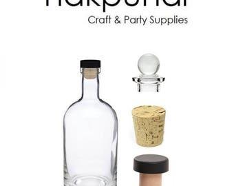1 pc 12 oz Heavy Bottom Boston Liquor Bottle with Cork, T-bar and Glass Stopper ( Nordic)