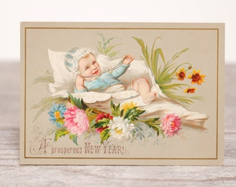 Antique Baby New Year Card Holiday Vintage Postcard December Snail Mail Paper Stationery