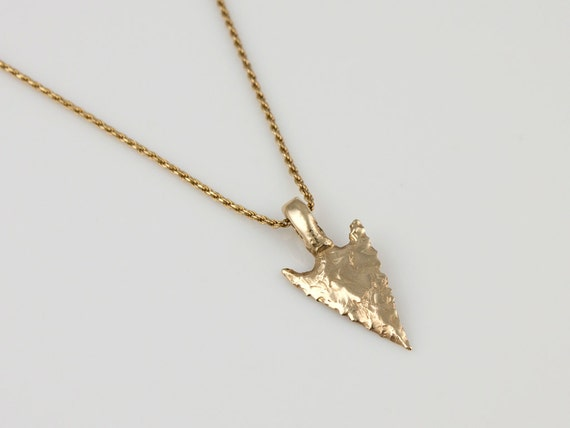 Items similar to 14k yellow gold arrowhead pendant small wintu on etsy aloadofball Image collections