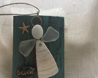 Beachcomber angel/shell ornament/seaglass