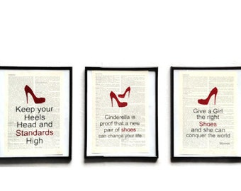 Set of 3 high heels shoes vintage art print encyclopedia