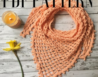 Crochet Triangle Scarf Pattern / Spring Scarf Tutorial / Crochet Tutorial Pattern /Easy / Boho Cowl / Download Beginnner / Elaina / Autumn