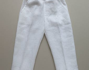 White Linen Boys Pants - Toddler Trousers - Ring Bearer - Wedding Boy Outfit - Baptism  pants - Boys Pants with pockets