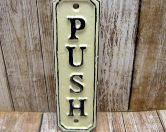 Push Cast Iron Sign Plaque Cream OFF White Wall Decor Sign Shabby Elegance Distressed Door Handle Entrance Home Office Instruction Plaque