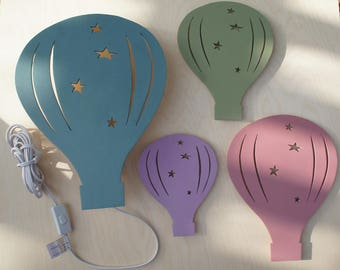 Hot Air Balloon Wall Night Light and Wall Art Decor - Children Bedroom or Nursery Wall Decoration