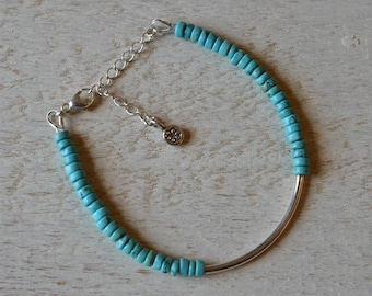 Sleek Chic Turquoise Heishi and Hill Tribe Silver Beaded Bangle Bracelet - All Sterling Silver