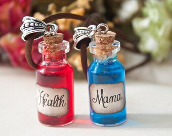 Health and Mana Necklaces, League of Legends Necklace, Gift for geeks, Gift for nerdy, Gift for gamer, Mana Potion, Bottle Necklace, health