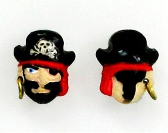 """Pirate Captain Ceramic Beads, 1/2"""", Choice of Lot Size & Price, Hand Painted"""