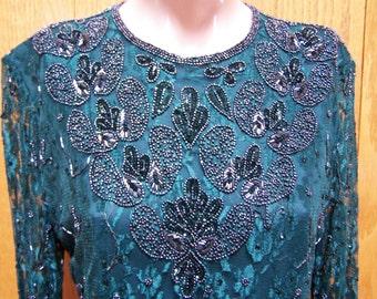 Beaded dress Gatsby green lace emerald jewel elegant lady size M / L