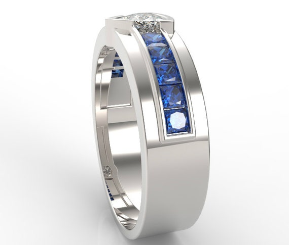 Custom Band Him, Blue Band For Him, His Sapphire Ring, Blue Mens Band, His  Custom Ring, Unique Wedding Band, Blue Sapphire Ring, Trillion