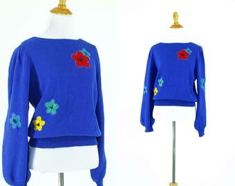 Vintage 1980s Sweater | 80s Blue Sweater with Floral Appliqué | M L