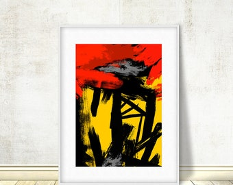 Abstract Yellow Red Art, Abstract Printable, Abstract Art, Black Red Print,  Brush Stroke, Minimalist Decor, Original Art, Instant Download