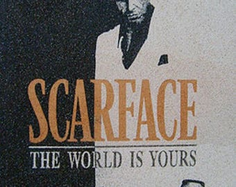 """Scarface"" sand painting in natural and colored sand"