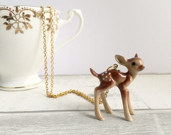 Deer Necklace, ceramic Deer Necklace, doe, deer pendant, Deer jewellery, fawn necklace, kitsch jewellery, gifts for her, Kawaii gift