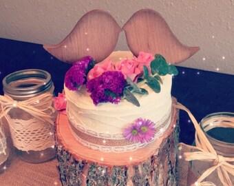 Kissing Birds Rustic Wedding Cake Topper