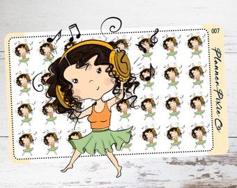 Summer Planner Stickers, Vacation, Music, Dance, 007