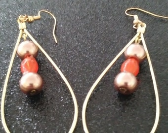 Gold and Orange Teardrop earrings.