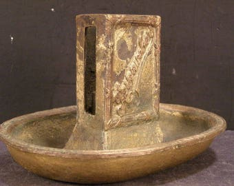 19th c Victorian Art Nouveau Solid Bronze Match Holder Safe Advertising Pin Tray