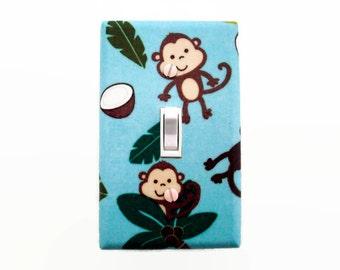 Monkey Light Switch Cover - Jungle Nursery Decor - Monkey Switch Plate