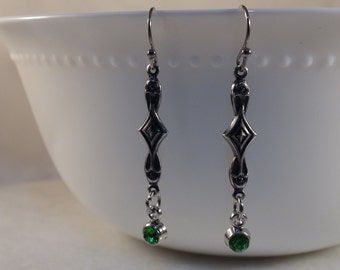 Art Deco Earrings, Green Rhinestone Earrings, Sterling Silver Plated Brass Art Deco Earrings, Vintage Earrings, August Birthstone Earrings
