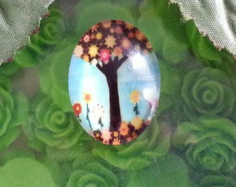 1 cabochon tree of life glass oval cabochons with flat back decorations ornaments, colorful, 18 x 25 x 6 mm