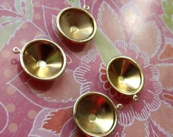 Brass Rivoli Slimline 14mm Settings Single Loop 4 Pcs