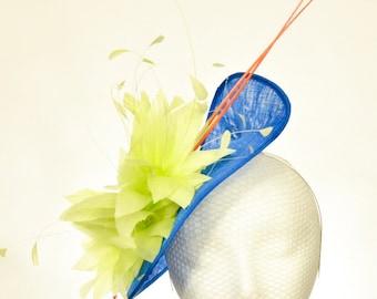 Electric Blue, Citrus Lime, Bright Orange, Sinamay Kentucky Derby Fascinator