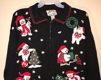 Embroidered Beautiful Heirloom Collection Vintage 1980's Tacky Ugly Christmas Sweater with 6 different Snowmen and  Lots of Trinkets Size-M