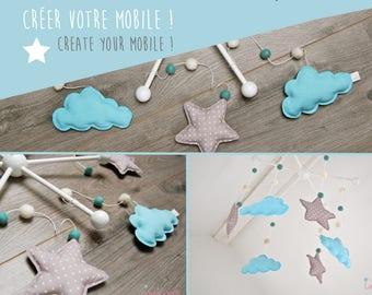 Mobile bébé personnalisé sur mesure - Mobiles nuages - Bois, tissu, laine et coton biologique