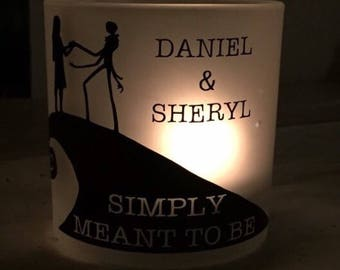 Valentine\'s Day Personalized Jack and Sally Candle Holder