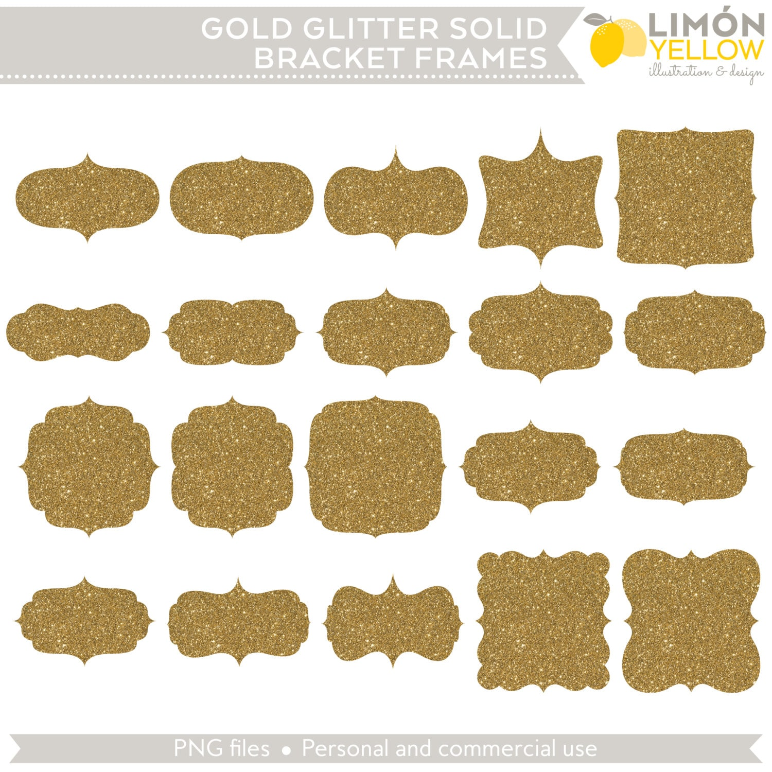Digital Printable Frames Tags - Gold Glitter Solid Bracket Frames ...