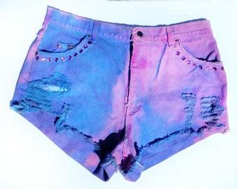 high waisted jean shorts - pink jean shorts - distressed jean shorts - upcycled dyed shorts - Grunge shorts  # 40