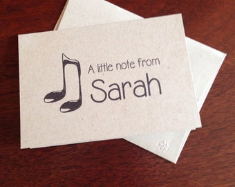 Music Note Personalized Note Cards (set of 10)