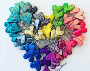 Glittered paperclip Hearts