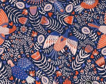 Organic Cotton French Terry Fabric // European Knit Fabric // Bird Print // Stretch Fabric // Clothing Fabric
