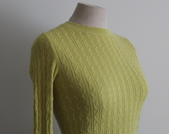 Yellow 1940s Style Cable Knit Angora Cotton Pullover Sweater