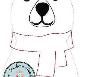 Raggedy Polar Bear Applique Design ~ Coca~Cola Polar Bear ~ Quick Stitch ~ Instant Download