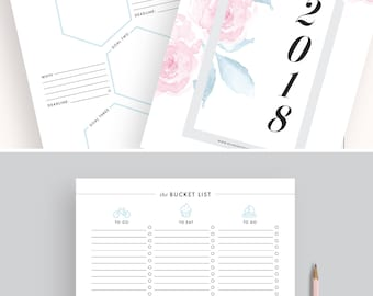 2018 Planner Printable 2018 Monthly Planner 2018 Weekly Planner 2018 Planner Pages 2018 Agenda Printable Planner Inserts A4 A5 LETTER