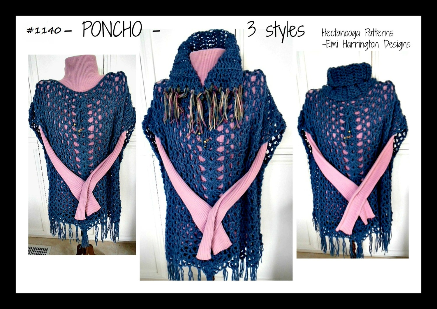 CROCHET PATTERN PONCHO cape sweater All sizes small to plus